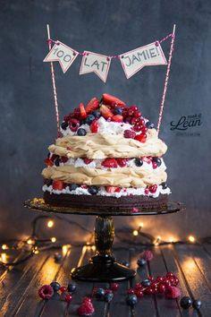 Meringue, Brownie and fruit. paleo birthday cake