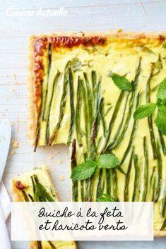 Découvrez vite cette recette. Quiche Feta, Quiches, Asparagus, Green Beans, Vegetables, Savoury Tarts, Cooking Recipes, Diet And Nutrition, Brot