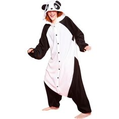 BCozy Panda Adult Costume (145 BRL) ❤ liked on Polyvore featuring costumes, dresses, pajamas, halloween costumes, panda bear costume, adult costumes, adult panda costume, panda costume and party costumes