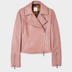Paul Smith Women's Pink Leather Biker Jacket (3,460 AED) ❤ liked on Polyvore featuring outerwear, jackets, pink moto jackets, motorcycle jacket, pink leather jacket, moto jackets and short leather jacket