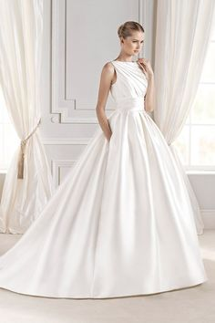 Ball Gown Boat Neck Satin Ruched Wedding Dress With Pockets Buttons Wedding Dresses Nz, Ruched Wedding Dress, Wedding Dress With Pockets, Stunning Wedding Dresses, Wedding Dresses Plus Size, Wedding Dress Shopping, Bridal Dresses, Beautiful Dresses, Gown Wedding