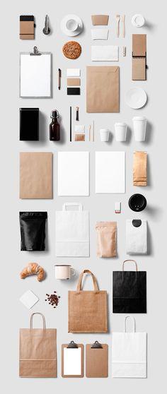Mockup de papelería corporativa para cafetería o restaurante