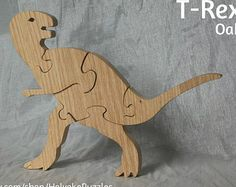 Triceratops Dinosaur Wooden 3D Puzzle in Oak от HolyokePuzzles