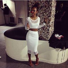Steal: Karrueche Tran's Instagram Kardashian Kollection for Lipsy String Crop Top and Midi Skirt