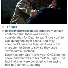 Though I doubt this is real it would have made that amazing scene even better. I do hope Destiel becomes canon....please