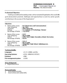 Resume Format For Job Freshers | Free Samples , Examples U0026 Format Resume /  Curruculum Vitae