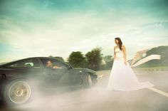 getting married on a drift track. photos like these are a must.