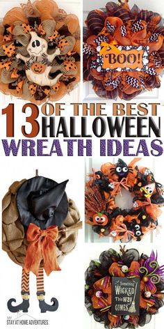 Ill be honest and say I that I love Halloween so much is one of my favorites, but when it comes to decorating I am terrible. To get inspired here are some of the best Halloween Wreath ideas to help you get inspired. More halloween wreaths Happy Halloween, Fete Halloween, Diy Halloween Decorations, Holidays Halloween, Halloween Crafts, Halloween 2014, Diy Halloween Reef, Burlap Door Decorations, Dollar Store Halloween