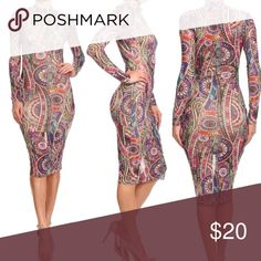 Body Con Midi Undergarments attached. See through. Vibrant colors. Dresses Midi