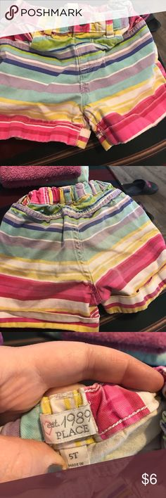 The Children's Place Striped Shorts Adjustable waits and button closure. In good condition no holes or tears. May have some slight fading on the back, nothing noticeable. The Children's Place Bottoms Shorts
