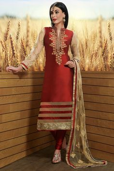 Red Raw Silk Zari Embroidered Designer Salwars-SL8414