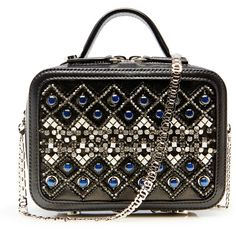 La Perla Bags Geometric Embellished Leather Box Clutch ($2,420) ❤ liked on Polyvore featuring bags, handbags, clutches, black, glitter clutches, beaded handbag, box clutch, genuine leather handbags and embellished purses