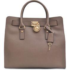 Michael Kors Hamilton 18K large tote (1,520 PEN) ❤ liked on Polyvore featuring bags, handbags, tote bags, purses, borse, bolsas, michael kors, brown tote, brown leather purse and brown leather handbags