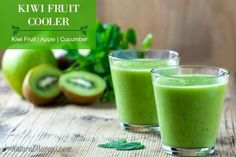 Kiwi Fruit Cooler Juice - Kiwi fruit, apples, cucumber. Refreshing and cooling juice.