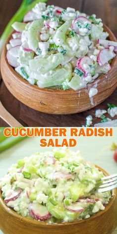 Cucumber radish salad a healthy combination of refreshing cucumbers crunchy radishes and creamy cottage cheese cooktoria for more deliciousness! Easy Soup Recipes, Salad Recipes, Keto Recipes, Vegetarian Recipes, Cooking Recipes, Healthy Recipes, Radish Recipes, Recipes With Radishes, Fast Recipes