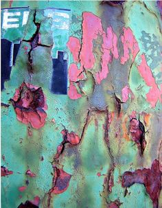 Teal And Pink Rusted Layers