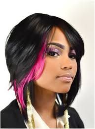 short black hair with pink highlights