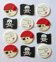 Fondant Cupcake Toppers Pirates II by TopItCupcakes on Etsy