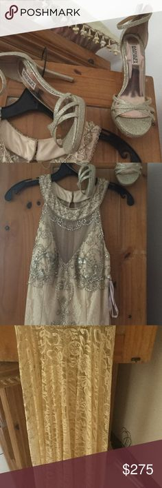 Sue Wong dress Beaded formal dress with lace- champagne in color Sue Wong Dresses Maxi
