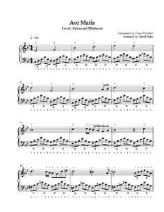 Ave Maria by Franz Schubert Piano Sheet Music | Advanced Level