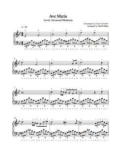 Ave Maria by Franz Schubert Piano Sheet Music Christmas Piano Sheet Music, Easy Piano Sheet Music, Violin Sheet Music, Free Sheet Music, Piano Music, Drums Sheet, Christmas Music, Kids Christmas, Printable Sheet Music
