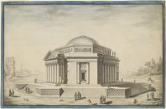 Louis Gustave Taraval (French; 1739–1794)Hexagonal Temple in an Italianate Landscape Pen and black ink with watercolor and gray wash within a border drawn in blue watercolor and pen and black, ink on laid paper extensively pricked for transfer, ca. 1780 TheNational Gallery of Art, Washington, D.C.