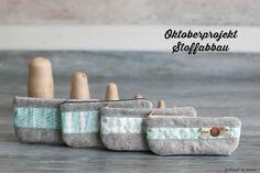 kleine Kosmetiktaschen für die Handtasche Wollfilz und Baumwolle