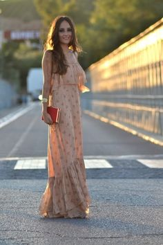 Peachy nude long dress.