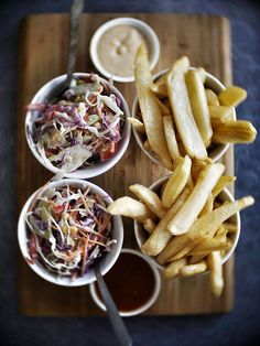 Awesome lime slaw and chips from The Burger Bar in Noosaville, Queensland, Australia. Recipe for the slaw on my site.