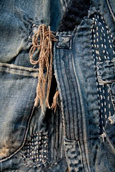 indigo denim - boro mending, love this