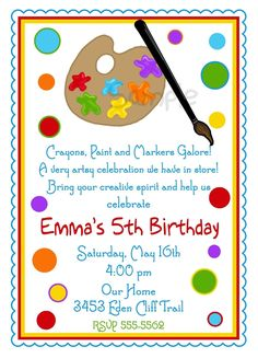 Art Invitations, Art Party, Painting Birthday party ,Paint Pallette, Crafts, Birthday, Boy,Girl, Party, Favor Stickers, address labels. $1.59, via Etsy.
