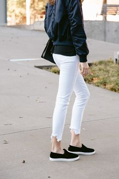 Jacket: BB Dakota Atwood Bomber Jacket // Tank: BP. double V tank{Under $30!} Jeans: 3×1 white crop jeans// Hat: BP baseball cap {similar here} // Shoes: Steve Madden slip-on sneaker {more sizes here} // Bag: Saint Laurent Betty bag // Sunglasses: Ray Ban aviators// Necklace: Bauble Bar custom charm bar I kept seeing bomber jackets …