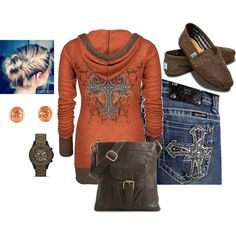 Love the Miss Me jeans, the orange cross rhinestone hoodie and the bag. Plus the accessories! :)