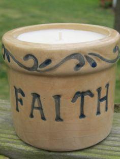 Soy Candle FAITH Crock French Vanilla Hemp by GoodNeighborsCandle on etsy.
