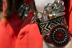 """LA Street Style: Coolest Jewelry Pics. Refinery 29, August 2011.  Name: Ariana Cabral  Occupation: Student/Blogger  Made By: (from top to bottom) Cookie Lee, Vintage, purchased in Mexico, Forever 21  Inspiration: Anything Boho  Rules for Accessorizing: """"There are no rules until it gets heavy."""""""