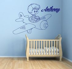 Boy Room Wall Decals Baby on Plane Vinyl by WallDecalswithLove