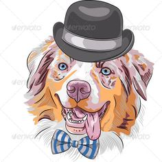 c1778d90f6a Buy Cartoon Hipster Dog Australian Shepherd by Kavalenkava on GraphicRiver.  funny hipster dog Red Australian Shepherd breed (Aussie or little blue dog)  in a ...