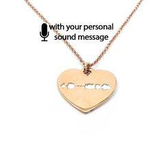Sterling silver soundwave cut necklace rose gold plated,waveform necklace,custom sound wave pendant,sonogram ultrasound- Ship by DHL EXPRESS
