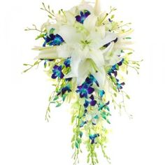Blue Orchid Teardrop Wedding Classical trailing bouquet of oriental lilies featuring blue Dendrobium orchids. (I would just need to add a few white lilies then this would be my ideal bouquet! Blue Orchid Bouquet, Blue Orchid Wedding, Orchid Bouquet Wedding, Cascading Wedding Bouquets, Bridesmaid Bouquet, Wedding Flowers, Lily Bouquet, Boquet, Bridesmaids