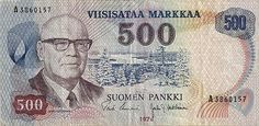 Urho Kekkonen in finish 500 marks. Nowadays we have euro in Finland. History Of Finland, Good Old Times, Arctic Circle, Old Ads, My Memory, Helsinki, Euro, Nostalgia, Old Things