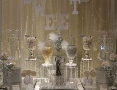 "Silver ""bling"" candy buffet, #candy bar #candy table"