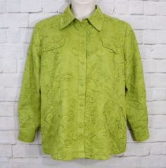 Womens CHICOS Lime Green Embroidered Floral Button Front Blouse Top Size 3 XL 16 #Chicos #ButtonDownShirt #CareerCasual