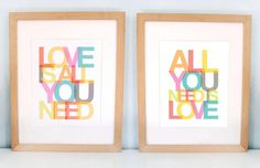 All You Need Is Love, Love is All You Need, Beatles, favorite sayings, inspirational quotes, nursery art, helvetica, ready to ship, 8x10 SET