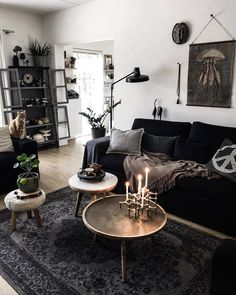 Nice 43 Adorable Makeover Witchy Apartment Design Ideas To Try Now. # How to Work with Interior Design Styles Like a Pro Home Living Room, Apartment Living, Living Room Designs, Living Room Decor, Bedroom Decor, Dark Home Decor, Goth Home Decor, Living Room Inspiration, Home Decor Inspiration