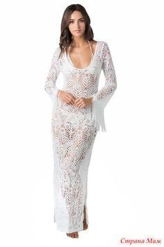Шикарное платье спицами.