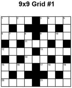 9x9 Easy Crossword puzzle grid 1 puzzle 28