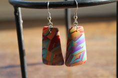 Polymer clay earrings dangling in soft hues of by SunshineTextiles, $18.00
