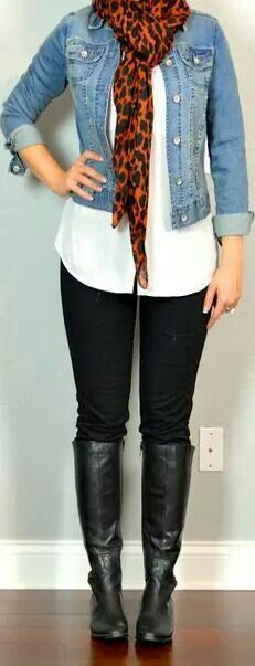 Cute scarf with denim jacket. Cute with a black maxi skirt