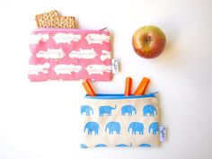 Reusable and washable snack bags. Come in adorable prints.