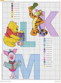 Schema punto croce Winnie k l m
